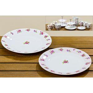 Porcelánové tanieriky s motívom ruže, 6 kusov