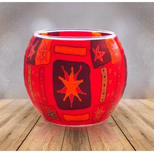Sklenený svietnik Červené hviezdy, 11 cm