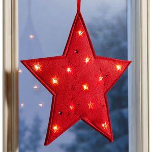 LED Plstená hviezda, červená