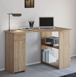 Počítačový stolík Lunzia rohový, sonoma dub