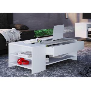 Konferenčný stolík Tindus, biely / farba betónu