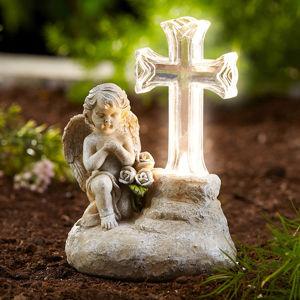 Anjel s LED solárnym krížom