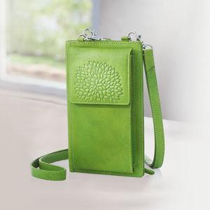 Dámska kožená kabelka na mobil Dahlia, zelená