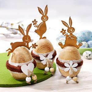 Drevená dekoračné vajíčka, 3 kusy